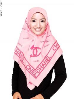 JM101 Jilbab Segi Empat Satin Motif