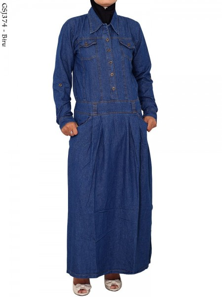 GSJ374 Gamis Jeans Panjang Polos