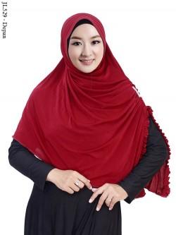 JL529 Jilbab Spandek Sutra Jasmin Belah Samping