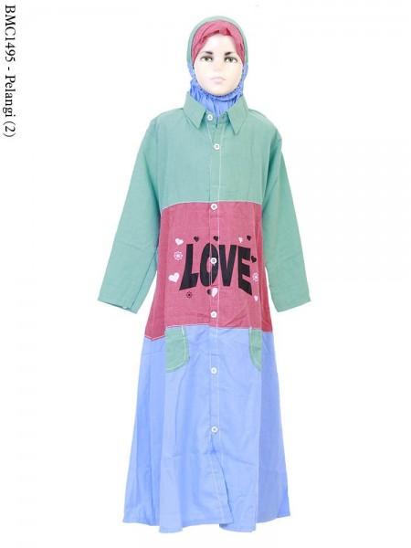 BMC1495 Gamis anak Kombinasi Warna LOVE