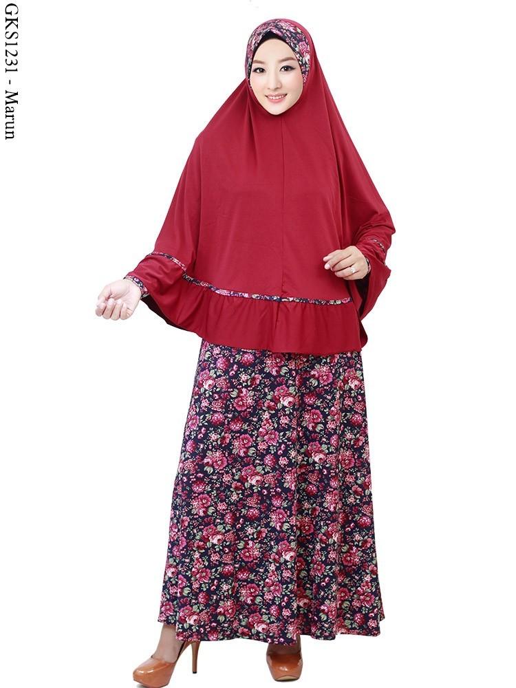 Aneka Motif Bunga Jilbab Baju Gamis Model Terbaru Harga
