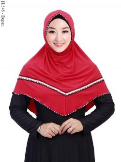 JL545 Jilbab Jersey Langsung Renda Rajut