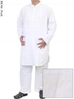 BK560 Baju Koko Pakistan Bordir Putih