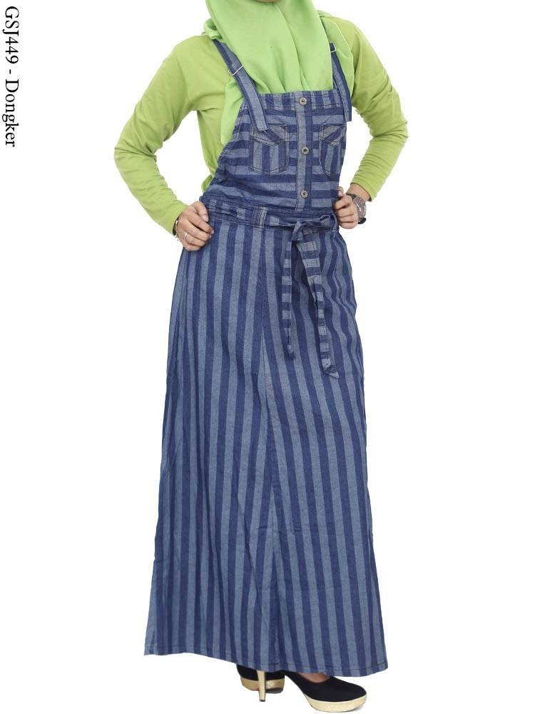 Gamis Overall Jeans Muslimah Gj E A Grosir Baju Murah