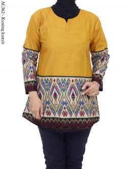 AC362 Blus Katun Polos List Batik