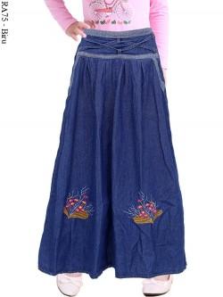 RA75 Rok Jeans Anak Tanggung Bordir Bunga