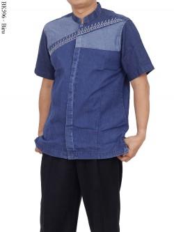 BK596 Baju Koko Eksklusif Jeans Bordir Albatar