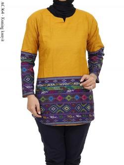 AC364 Blus Katun Polos List Batik