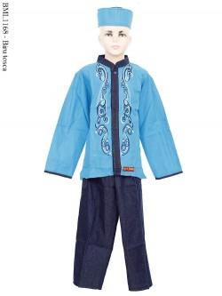BML1168 (1-6) Baju Koko Anak Dennim Bordir