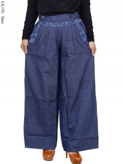 CK195 Celana Kulot Jeans List Motif