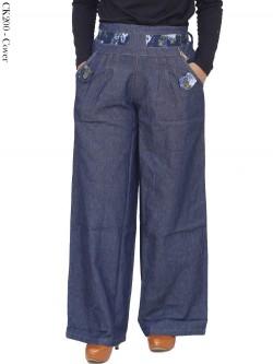 CK200 Celana Kulot Jeans List Motif