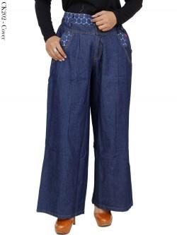CK202 Celana Kulot Jeans List Motif