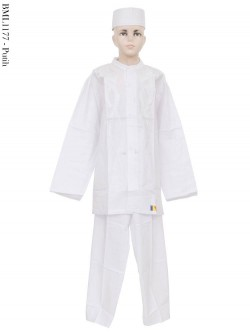 BML1177 (13-15) Baju Koko Anak Putih Senada