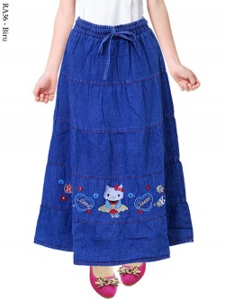 RA36 Rok Jeans Anak Bordir Hello Kkitty