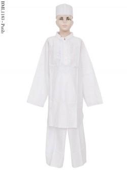 BML1183 (13-15) Baju Koko Anak Bordir Putih