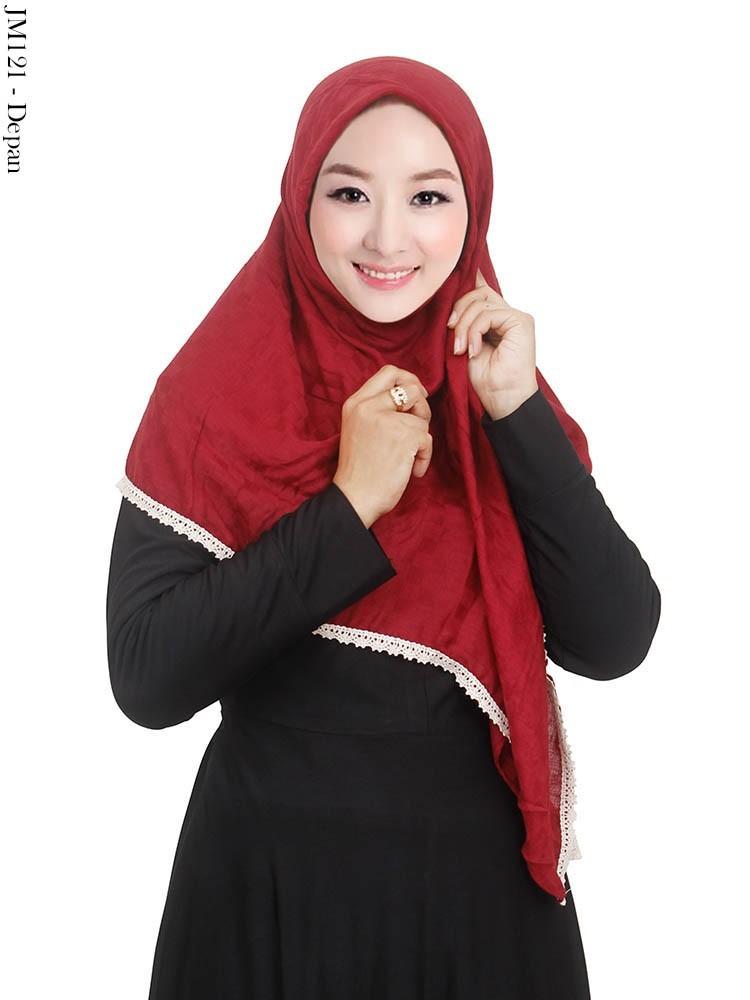 Grosir Jilbab Segi4 List Renda Motif Cantik