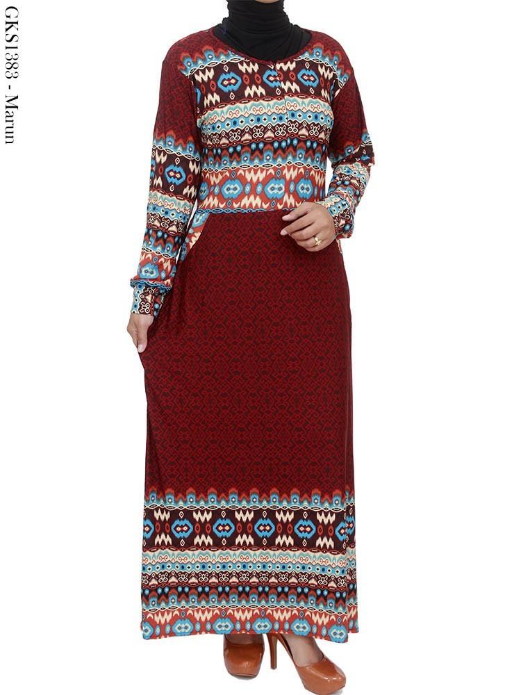 Grosir Gamis Jersey Batik Songket Motif Cantik
