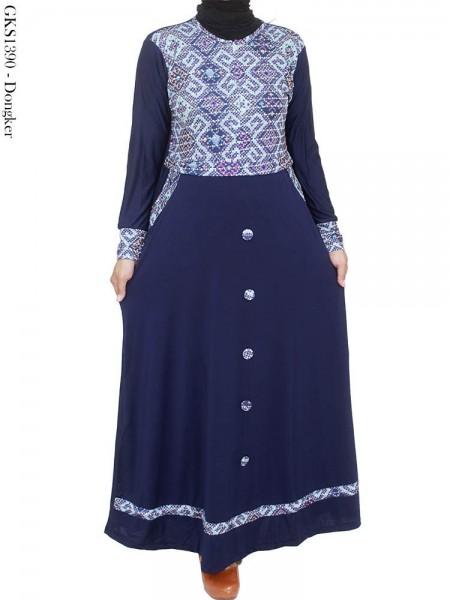 GKS1390 Gamis Jersey Kancing Batik