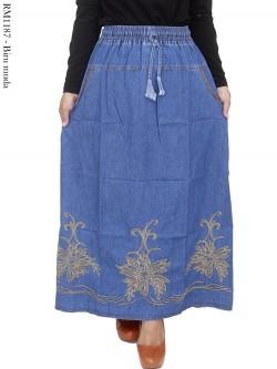 RM1187 Rok Panjang Jeans Bordir