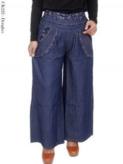 CK222 Celana Kulot Jeans List Bunga