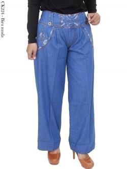 CK224 Celana Kulot Jeans List Motif