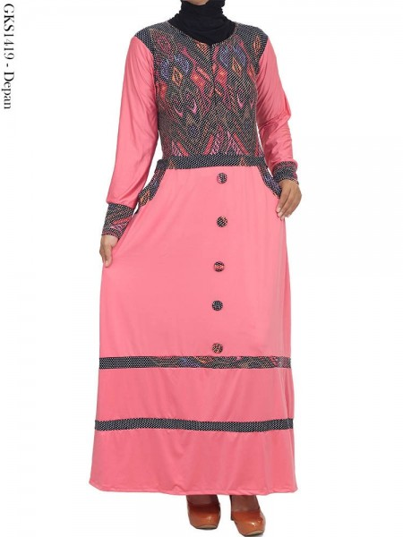 GKS1419 Gamis Jersey Kancing Batik