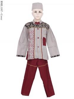 BML1187 (4-6) Baju Koko Anak Katun Songket Bordir
