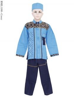BML1188 (7-12) Baju Koko Anak Katun Songket Bordir