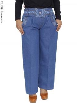 CK233 Celana Kulot Jeans List Motif