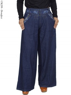 CK238 Celana Kulot Jeans List Motif