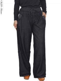 CK239 Celana Kulot Jeans Polos Hitam