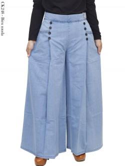 CK248 Celana Kulot Soft Jeans Kancing