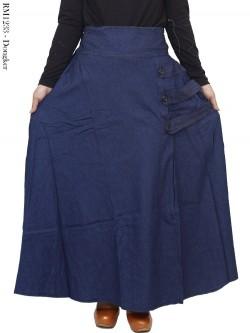 RM1233 Rok Jeans Panjang Payung Kancing