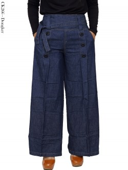 CK266 Celana Kulot Soft Jeans Kancing