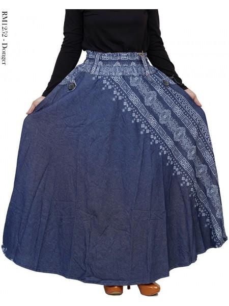 RM1252 Rok Panjang Jeans Motif list batik