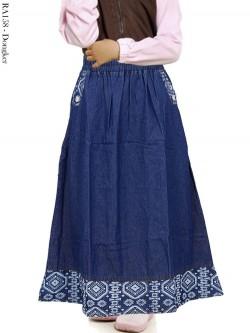 RA158 Rok Jeans Anak List Batik