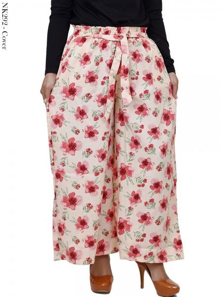 CK292 Celana Kulot Katun Linen Rami Bunga