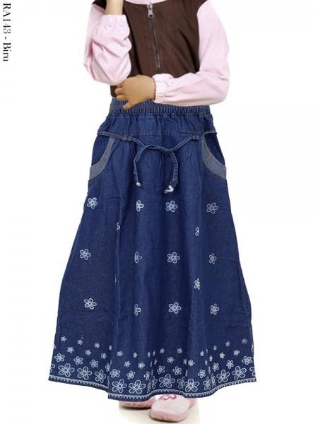 RA143 Rok Jeans Anak Motif Bunga
