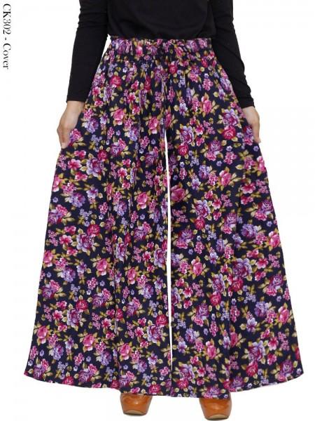 CK302 Celana Kulot Jumbo Katun Linen Bunga