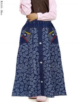 RA161 Rok Jeans Anak Motif Daun