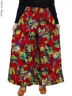 CK303 Celana Kulot Jumbo Katun Linen Bunga