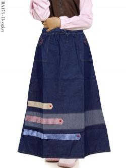 RA175 Rok Jeans Anak Tanggung List Kotak