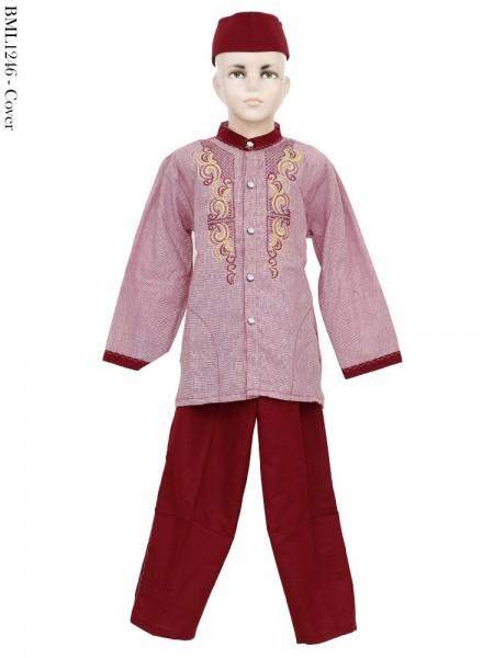 BML1246 (7-12) Baju Koko Anak Katun Bordir