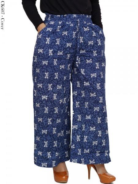 CK607 Celana Kulot Batik Bunga Katun Stretch
