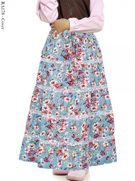 RA178 Rok Umbrella Anak Katun Linen Bunga