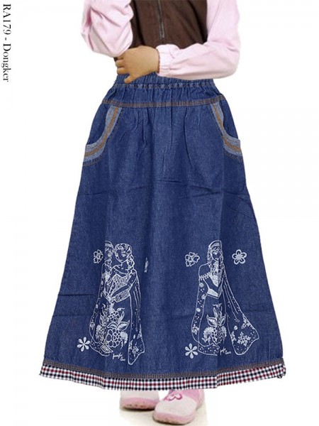 RA179 Rok Jeans Anak Sablon Frozen