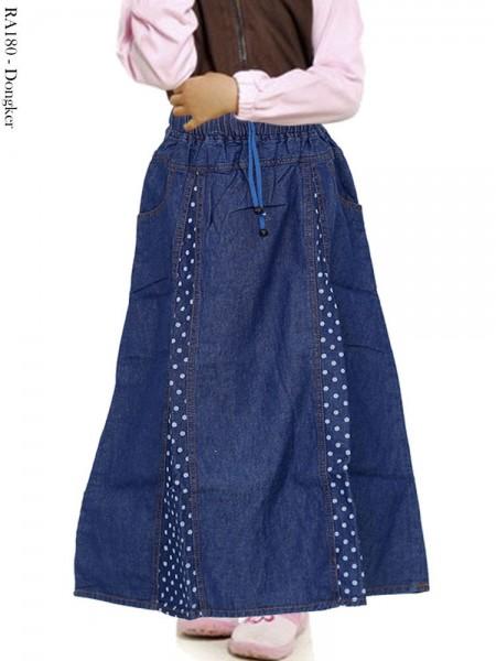RA180 Rok Jeans Anak List Polkadot