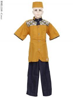 BML1248 (7-12) Baju Koko Anak Dennim Bordir