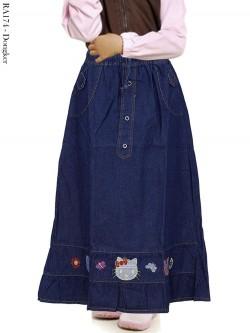 RA174 Rok Jeans Anak Bordir Hellokitty