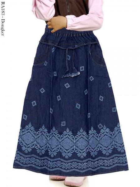 RA183 Rok Jeans Anak Motif Batik